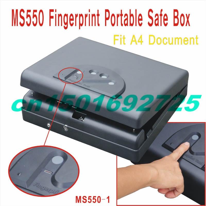 MS550 coffre-fort d'empreintes digitales quatre panneaux A4 boîte de fichiers, boîte de rangement iPad ordinateur portable, MS550-1 d'argent de téléphone portable