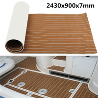 Audew 2400x900x6mm Self Adhesive Tailored Large EVA Light Brown Boat Bedroom Flooring Imitations Teak Decking Sheet Pad