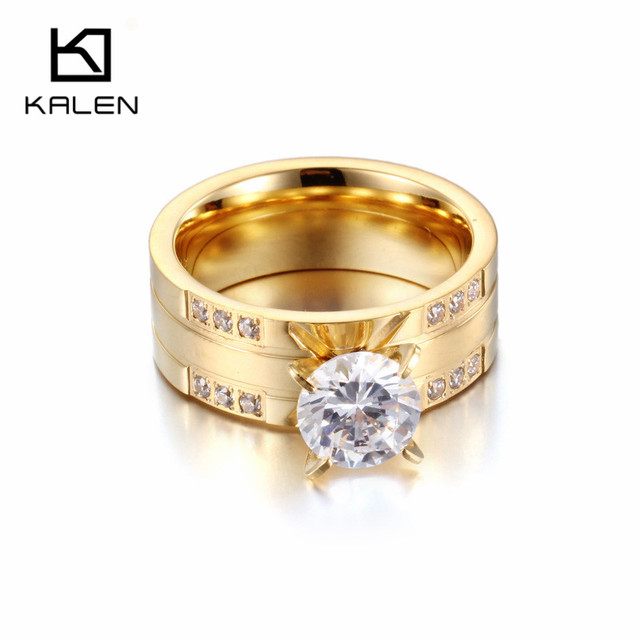 Wedding Rings Cheap.Us 3 81 29 Off Kalen Women Rhinestone Finger Rings Unique Stainless Steel Bulgaria Gold Engagement Wedding Rings Fashion Cheap Bridal Bands In