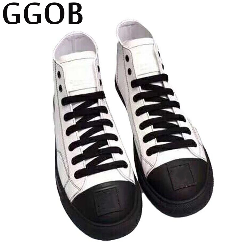 GGOB 2018 Womens Flats Outdoor Walking White Canvas Shoes Ladies Casual Women Loafers Brand Fashion Black High Gang Flat With ggob womens sandals platform casual shoes outdoor walking classics fashion element hairy slippers flat sandals ladies white