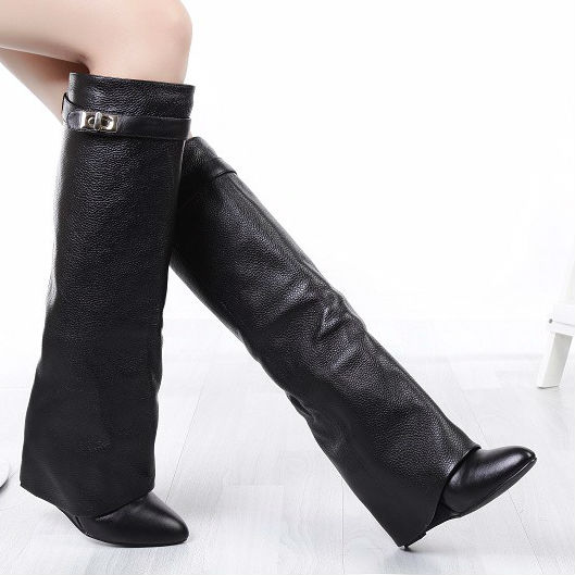 Thigh High Boots Wedge Heel - Yu Boots