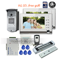 "FREE SHIPPING NEW Two 7"" Door Monitor Video Intercom Home Door Phone Recorder System + Waterproof Camera + 8G SD + EM Door Lock"