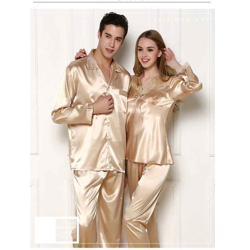 76dcd12758 Summer Short Silk Pajama Set For Man And Women Solid Satin Pyjamas Suit  Couples Sleepwear Women Casual ...