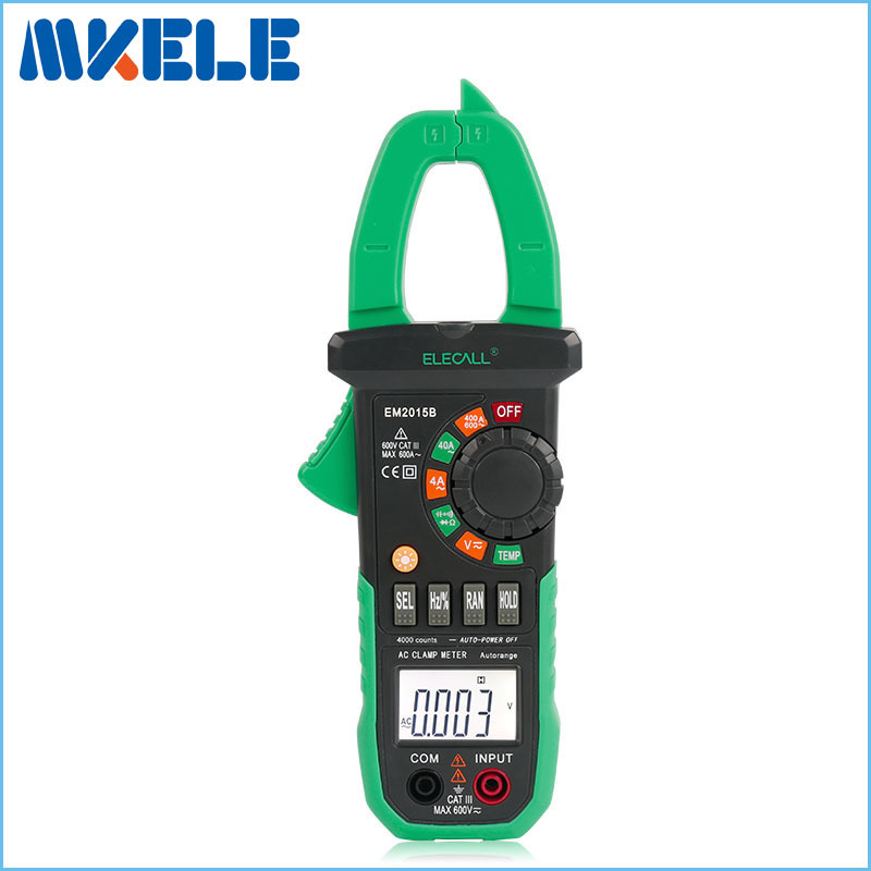 EM2015B Best Price Duty Cycle Current Clamp Digital Clamp Meter With Torch Temperature And Resistance Capacitance Measurement цена
