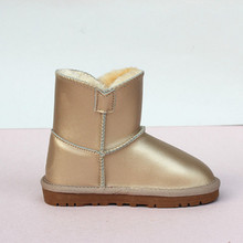 Size 24-44 New Winter High Quality Children Girls Boots Real Leather Kids Snow Boots Adult Warm Snow Boys Boots Waterproof 2017