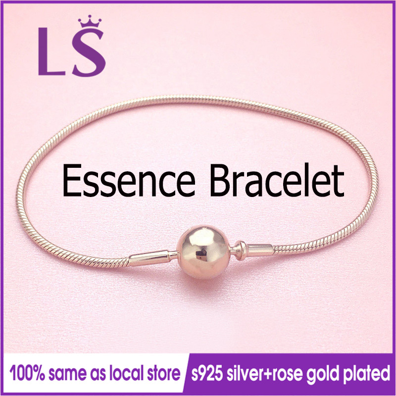 LS High Quality ESSENCE Collection Rose G.old Plated Bangle Silver Jewelry Charm Bracelets Women Fashion DIY Jewelry Gifts W
