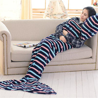 Colorful Warm Bow knot Mermaid Fishtail Shape Blankets Air Conditioning Blanket Nap Adult Throw Bed Wrap Sleeping Bag D2