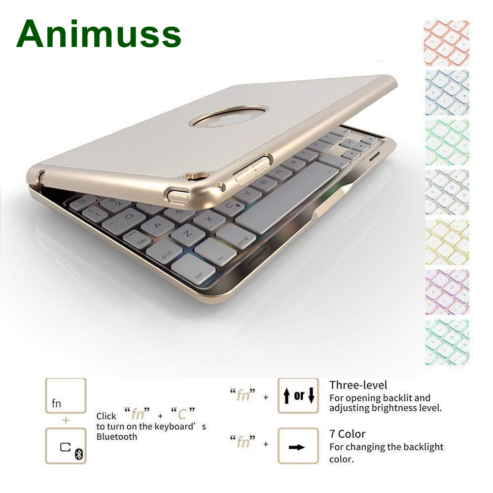 ANIMUSS FOR iPad 6th Generation Case with Keyboard 7 Color Backlit Light/Bluetooth Wireless/Sleep-Wake Folio Smart Cover