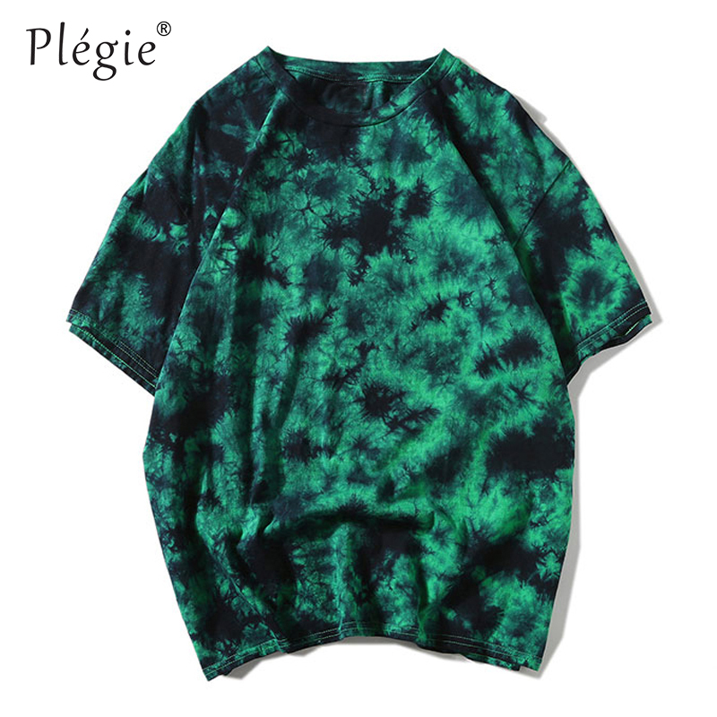 Plegie Tie Dye Shirt Unisex Hip Hop T-shirt 2019 Summer Round Neck Men's Tshirts 100% Cotton Tee Shirts 5 Colors