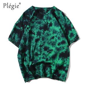 Plegie Tee Shirts Unisex 100%Cotton 5-Colors Dye Loose Round-Neck Round-Neck