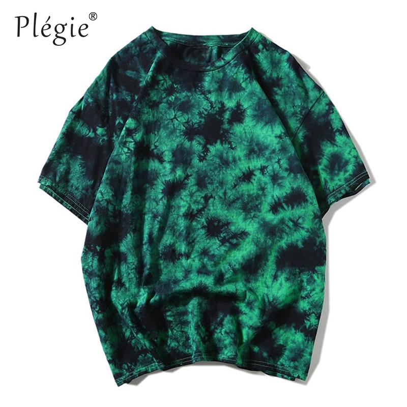 Plegie Tie Dye T Shirt Unisex Hip Hop T-shirt 2020 Summer Round Neck Loose Tshirts футболка 100% Cotton Tee Shirts 5 Colors