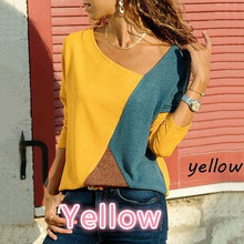 ZDFURS* Autumn Women Long Sleeve Tops&Tees Splice Pullover TShirt Winter Vogue Yellow Red Plus Size Work T Shirt Femme Camisetas(China)