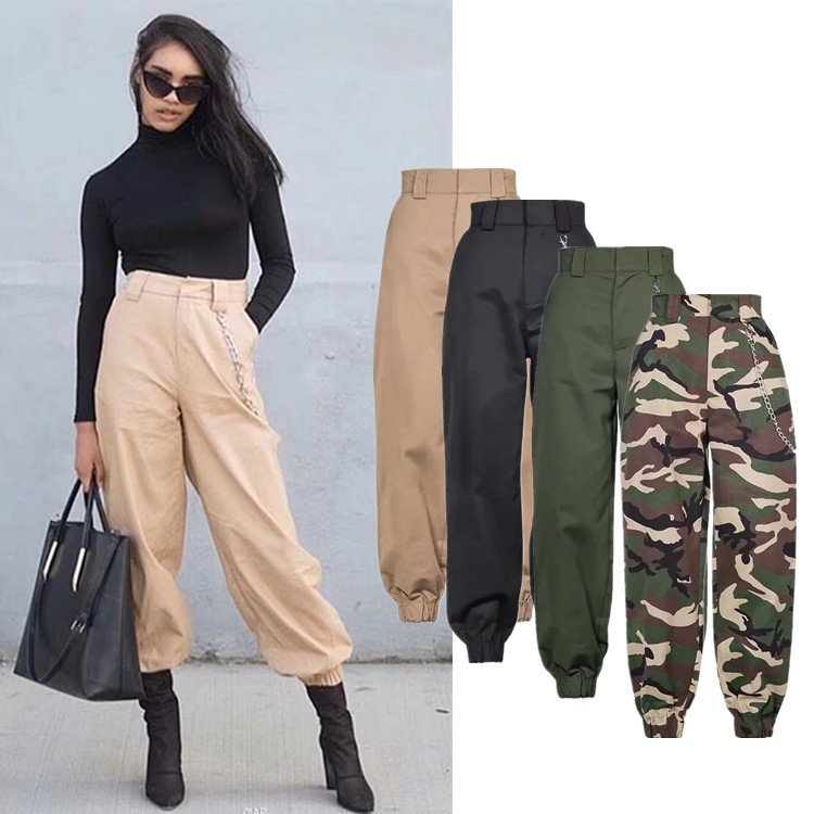 34225a4fba3d Spring Army military cargo pants women black high waist pants Winter Casual  cotton office long Trousers