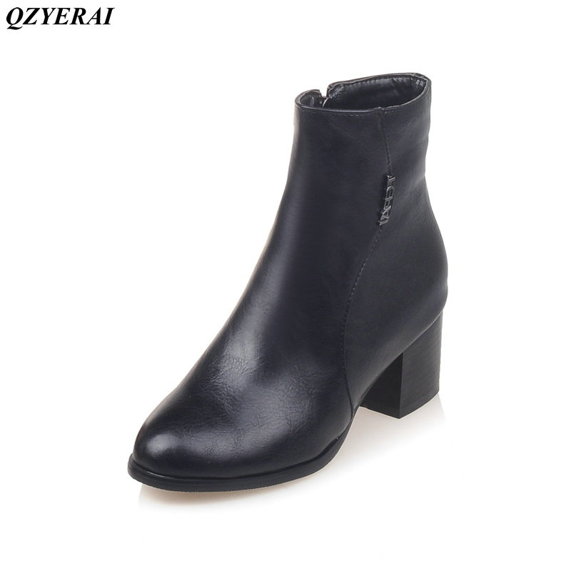 QZYERAI New arrival autumn/winter spring rough heel ladies short boots fashion womens boots sexy womens shoes autumn and winter new ladies genuine