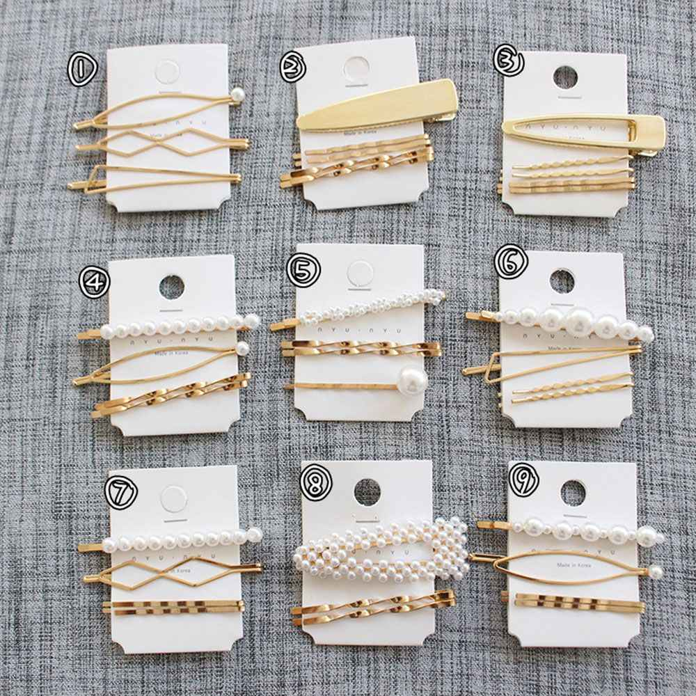 Hot New 2019 1 set Sweet Korean Pearl Golden Barrette Girls Hair Clips Women Girls Hair Pins Bang Clip Hair Accessories