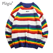 Plegie Harajuku Rainbow Striped Knitted Pullover Sweaters Men HipHop Patchwork Streetwear 2018 Male O-Neck Long Sleeve Sweater