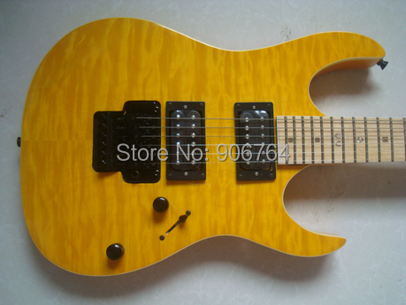 new yellow flamed top electric guitar free shipping TTM devill custom shop model limited qulited top maple fretboard dot inlay