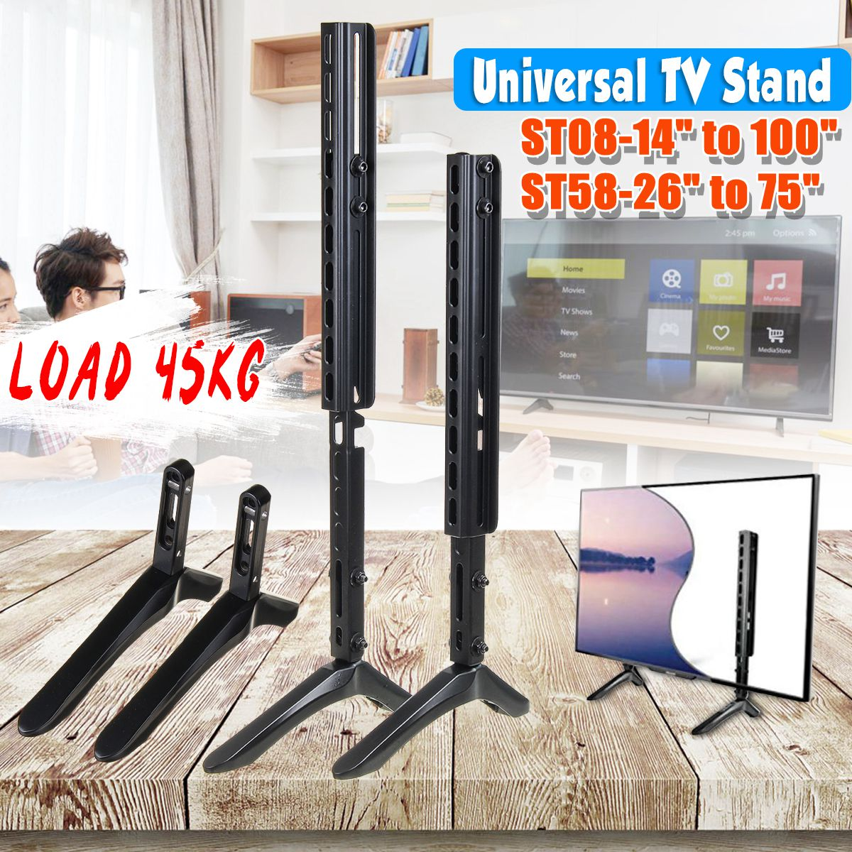 14-100 pouces universel Table TV support Base LCD écran plat Table Top piédestal montage fer installation facile charge jusqu'à 45 KG