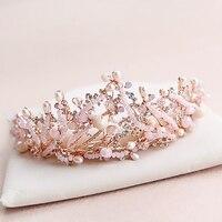 New Hot Pink Freshwater Pearl Crystal Handmade Clear Rhinestone Beaded Wedding Accessories Hair Crown Tiaras Golden Jewelry