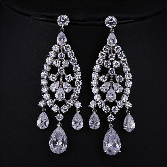 Charming Trendy Personality Luxury Cubic Zircon Bridal Earrings for Women Wedding Party Gold Plated from India Jewelry brincos