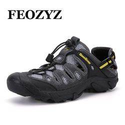 FEOZYZ 39-46 Summer hiking sandals men Genuine Leather Outdoor Shoes Sneakers Trekking Shoes Non-Slip fishing shoes Water Shoes