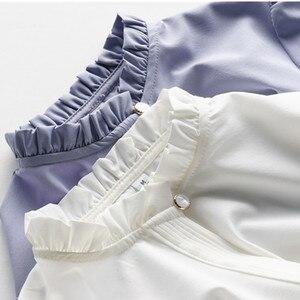 Image 5 - אופנה חדש נשים חולצה רשמית עסקים slim צווארון עומד ארוך שרוול שיפון חולצה נשי לבן אפור בתוספת משרד חולצות