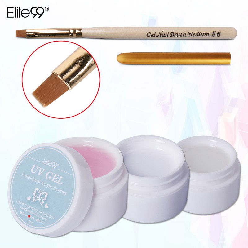 купить Elite99 Gel Manicure Extension Tips Clear Pink White with Nail Brush Pen UV Gel Builder онлайн