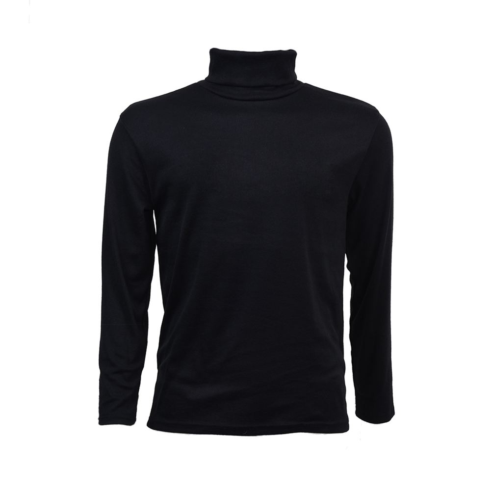 Fashion Mens Autumn Winter Turtleneck Sweater Shirt Solid Pattern Pullover - Black M