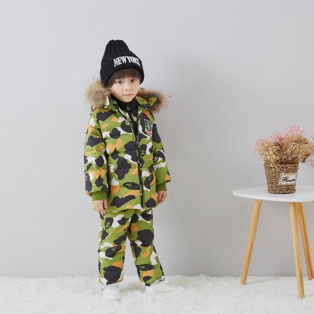 Garçon fille hiver parc manteau enfants vers le bas veste Chaude a fourrure d'hiver Snowproof vêtements duvet de canard Bavoir Enfant manteau d'hiver