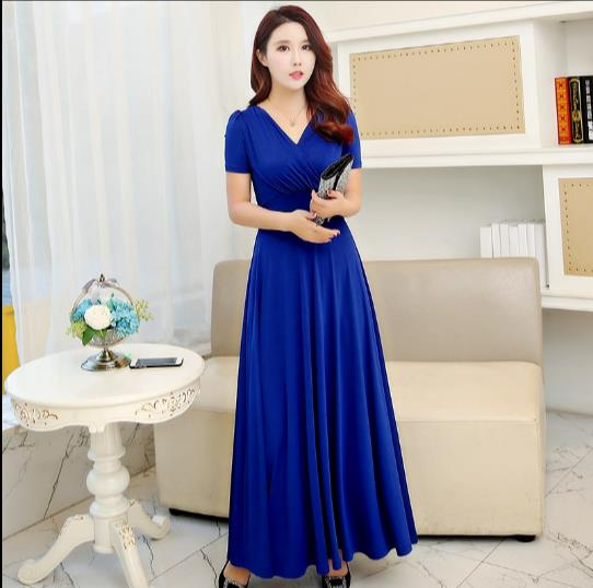 V Neck Women Summer Dress 2018 Royal Blue Long Dress Women Maxi