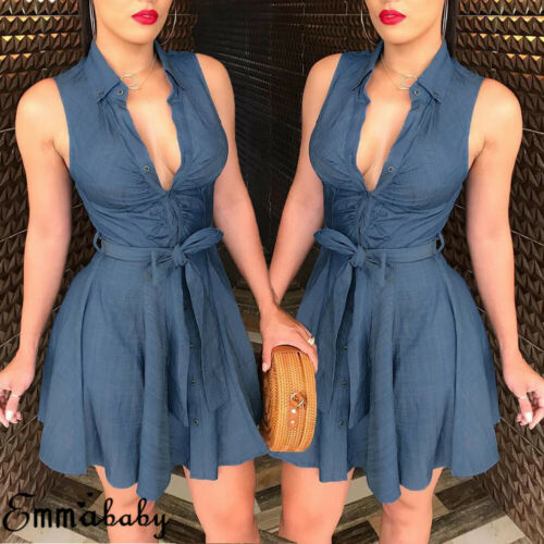 Womens Dress Sexy Large V Neck Sleeveless Club Party Denim Jeans Bandage Bodycon Mini Dress 2