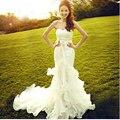 2016 Элегантный Русалка Милая Бисероплетение Органзы Часовня Свадебное Платье Платье Партии Заказ