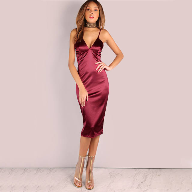 619cbdbaa180d US $11.69 25% OFF|Ensen Burgundy Satin Party Club Dress 2018 Deep V Neck  Women Summer Dresses Sexy Bodycon Strap Ruched Ladies Midi Slip Dress-in ...
