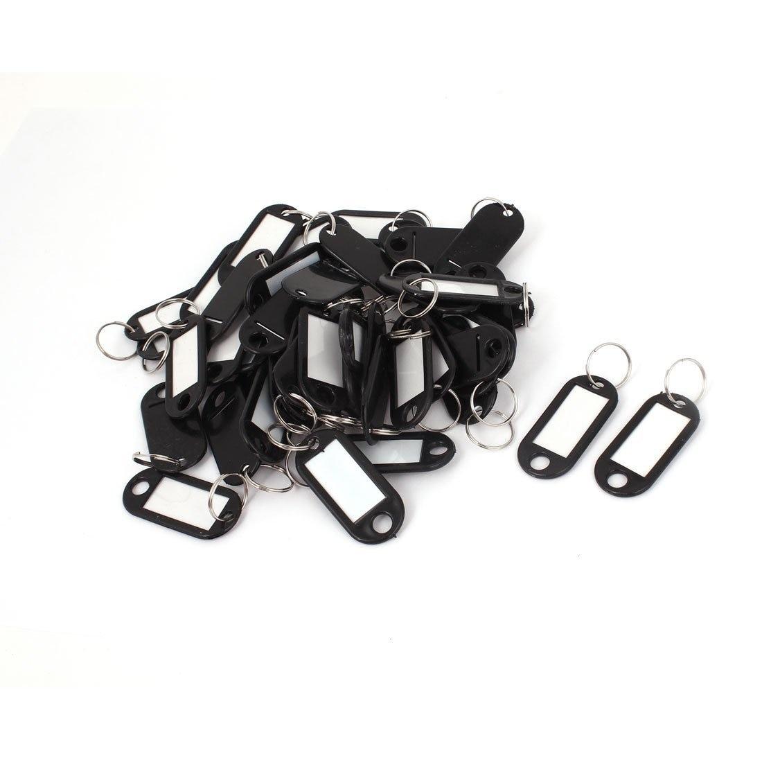 50pcs Plastic Luggage ID Card Name Tag Label Clip Holder Keyring Black
