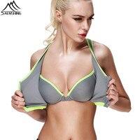 Sport Bra For Women 2016 Zipper Push Up Bras Shockproof Crop Top Underwear With Inner Pad