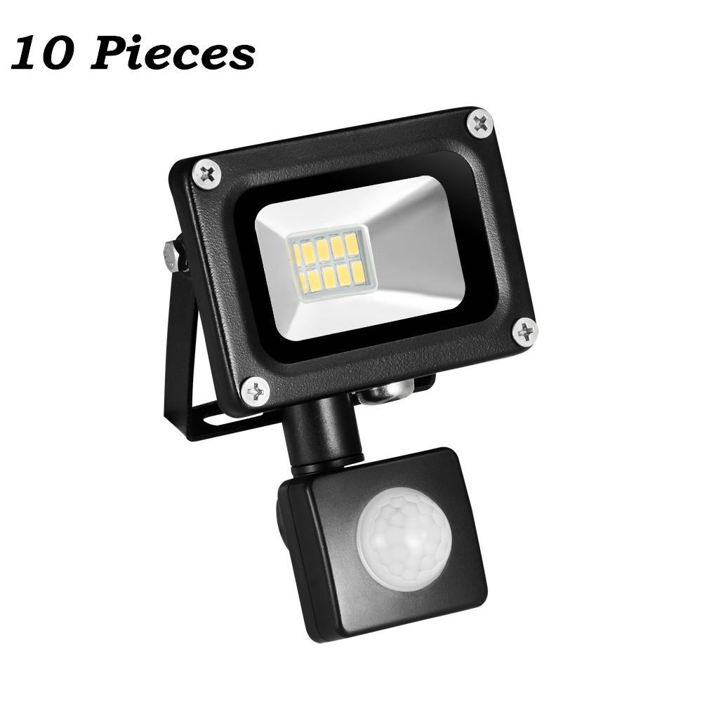 10 Pcs 10W 220-240V PIR Infrared Motion Sensor LED Flood Light 700LM 10 LED PIR Motion Sensor Floodlight For Garden Outdoor Wall ultrathin led flood light 200w ac85 265v waterproof ip65 floodlight spotlight outdoor lighting free shipping