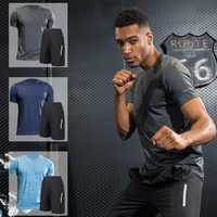 Men Sport Suits Quick Dry Fit Breathable Running Sets Men High Quality Reflective Running T Shirt and Running Shorts Fitness Set
