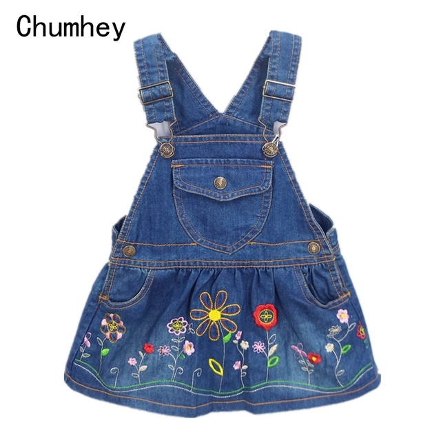 1d5d6d5b723 1-3T Baby Girls Clothing Jeans Suspender Dress Overalls Kids Clothing  Kawaii Embroidery Flowers Toddler