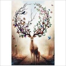 Алмазная живопись 5D «сделай сам» животного пятнистого оленя фрукты полный квадратный алмаз вышивка плакат, Декор для дома T028