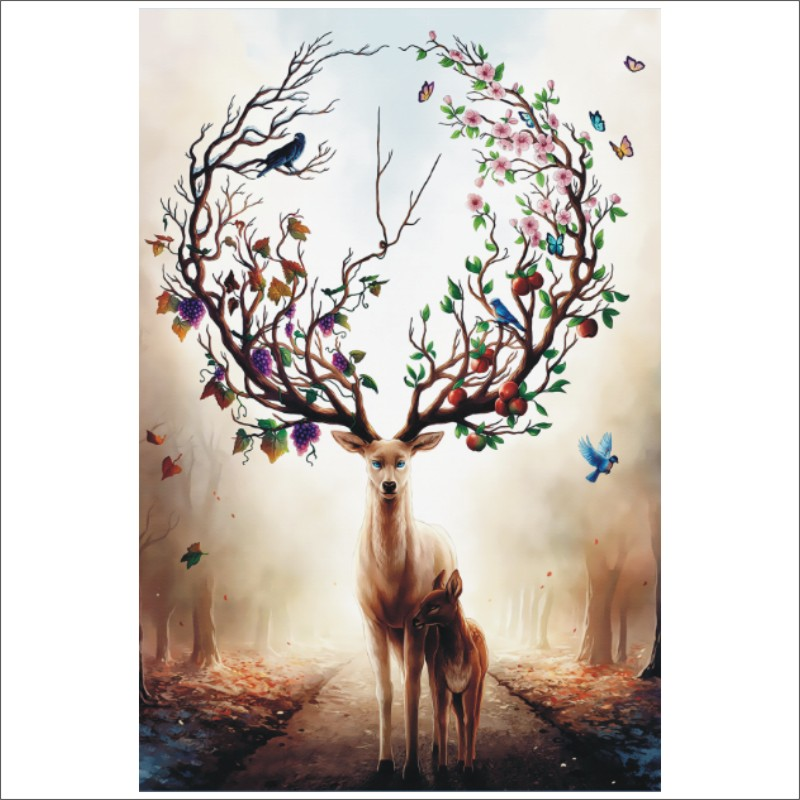 5D DIY Diamond Painting Animal Sika Deer Fruit Full Square Diamond Embroidery Mural Home Decoration T028