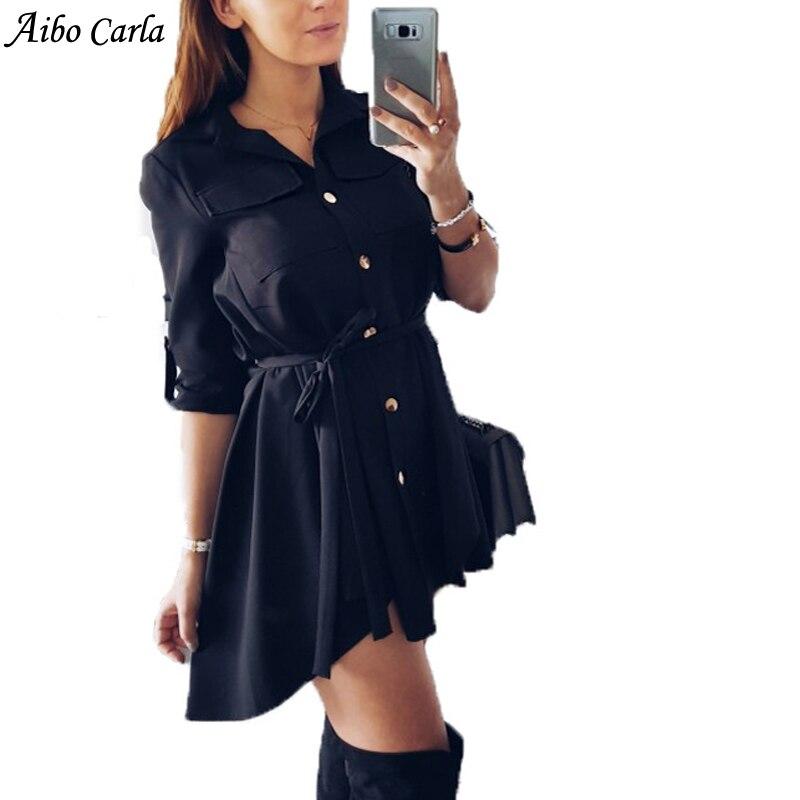 2018 Plus Size Women Winter Dress Shirt Dress Sexy Slim Single Breasted Turn-down Collar Mini A-line Dresses Christmas Dress