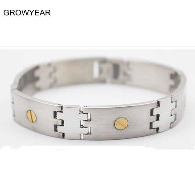 Mens Two Tone Bracelets Stainless Steel Jewelry Silver Golden Bracelet Men Casual Link 1pcs Free
