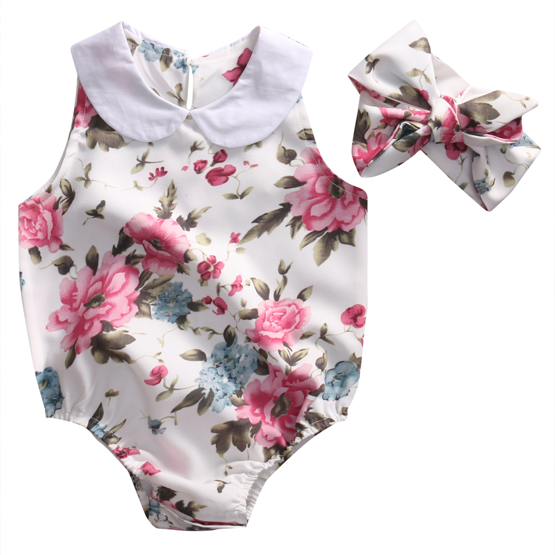 Newborn Infant Baby Girl PeterPan Collar Floral Romper Headband Outfit 2pcs Set Clothes