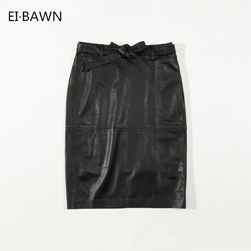 Autumn New Haining Leather Half Skirt, Female Sheep Leather Bag, Buttocks Thin Skinny Skirt, High Waist Leather Skirt.