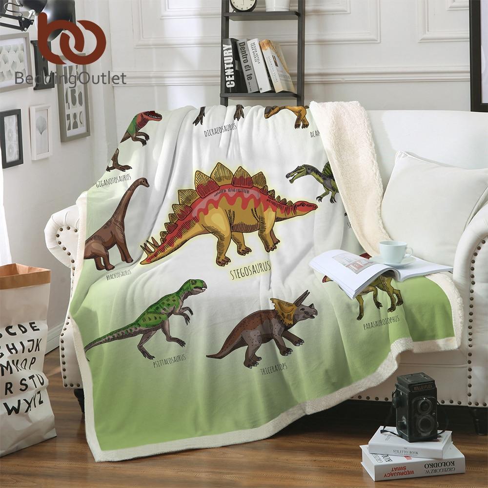 BeddingOutlet dinosaurio familia manta para niños de dibujos animados de microfibra Jurásico de Sherpa manta en sofá cama niños ropa de cama