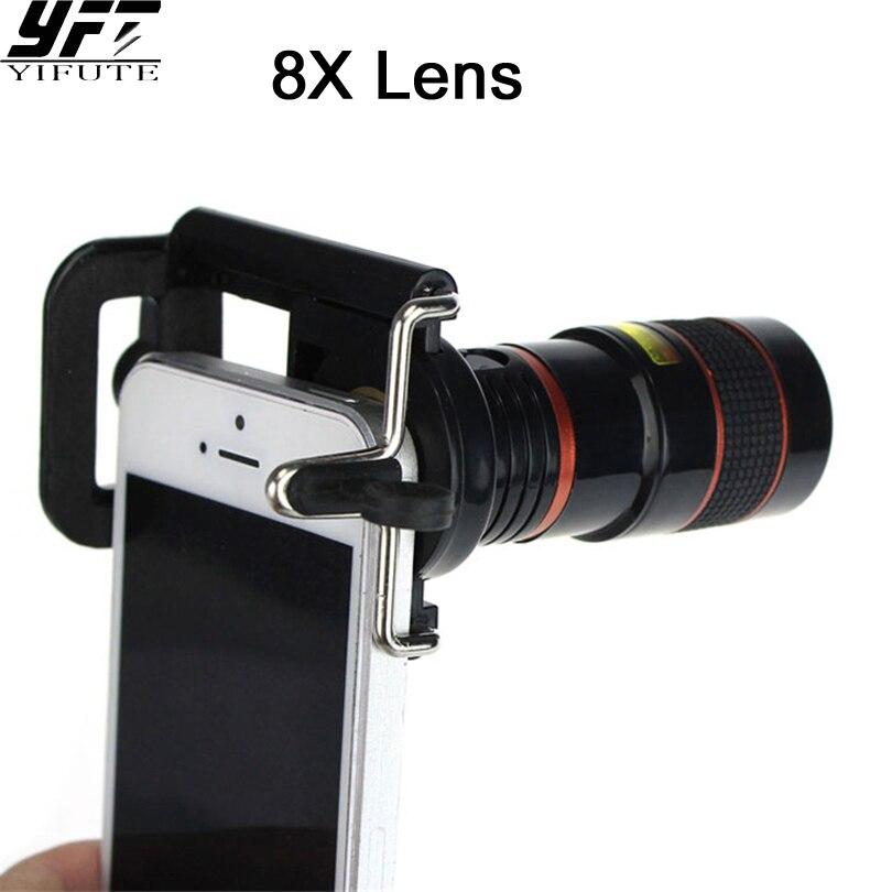 YIFUTE Universal 8X Zoom Optical Telescope Camera Wide Angle Lens For iPhone 7 Lens iPhone Samsung xiaomi Redmi huawei Lens