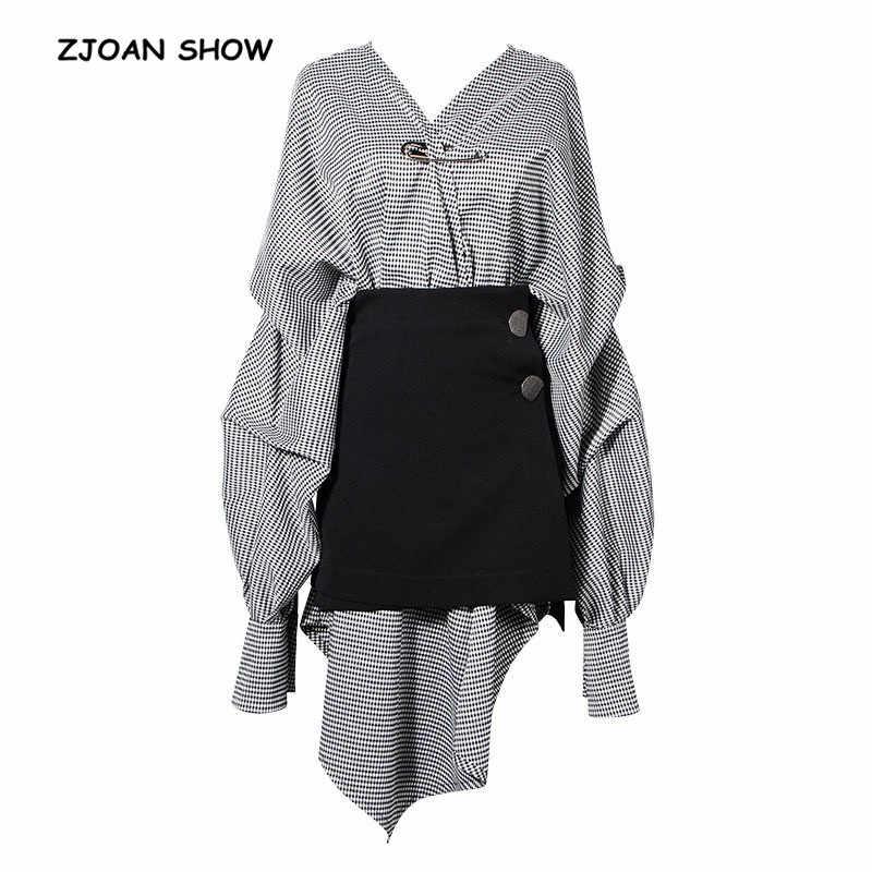 le meilleur meilleur authentique grossiste 2 pieces 1 Set 2018 Women New Fashion V neck Check Plaid Dress + Black  skirt Suit Asymmetrical Dresses Stylish Femme vestido
