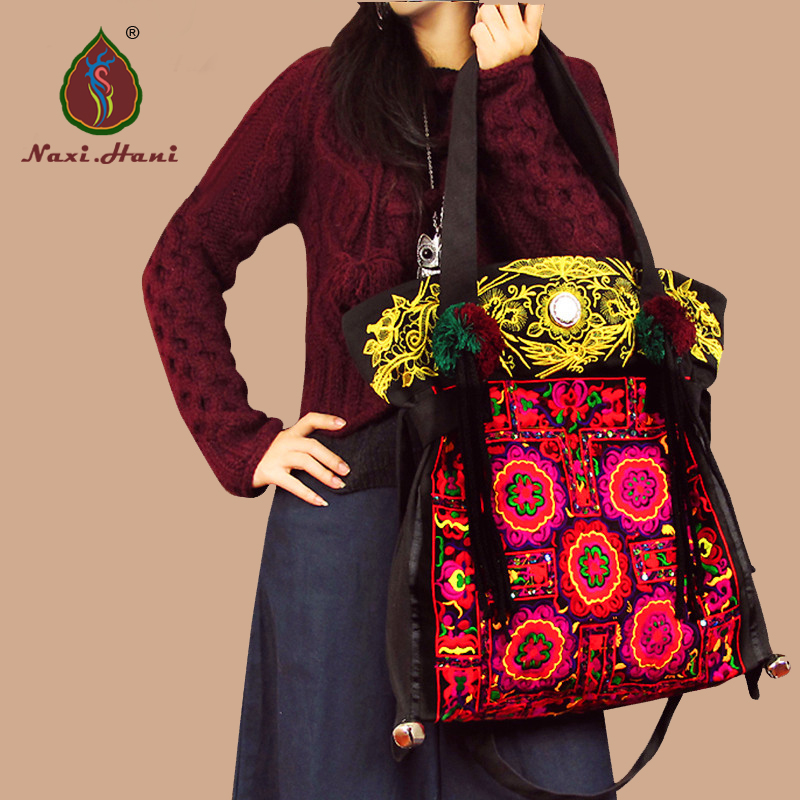 Naxi.Hani Original design tribal handmade embroidery bags Vintage canvas casual messenger shoulder bags Ethnic women lagre bags free shipping vintage hmong tribal ethnic thai indian boho shoulder bag message bag pu leather handmade embroidery tapestry 1018