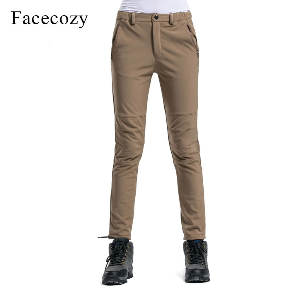Facecozy Women Winter Thicken Outdoor Hiking Pants Slim Fit Windproof Warm Fleece SoftShell Trousers For Camping Skiing Trekking