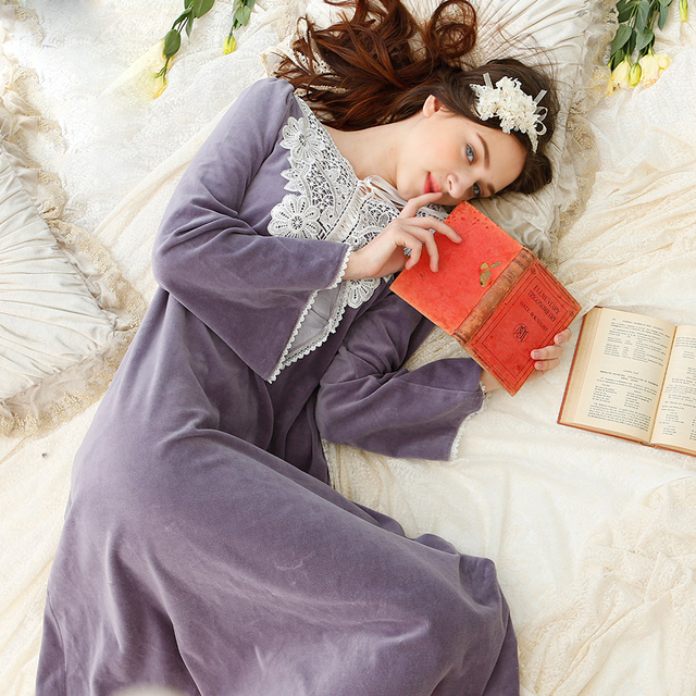 Vintage Lace Full Sleeve Princess Nightgown Female Young Girl Sleepwear Maternity Plus Size Royal Lounge Mid-Calf Nightdress